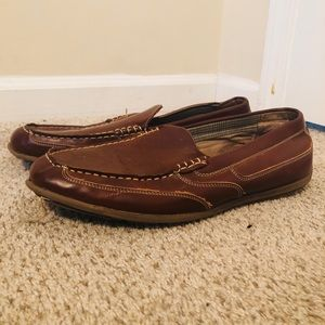 Brown leather dress shoes with Nunn bush insoles